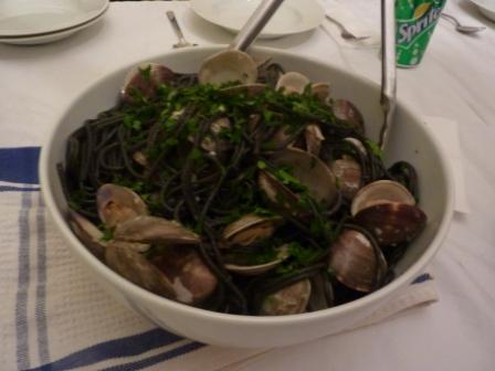 clams with squid ink pasta custom bike holidays italy