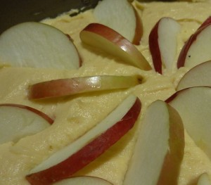 Sliced apples on cake