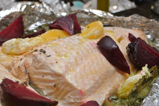 Salmon with beets - Italiaoutdoorsfoodandwine custom cycle holidays italy