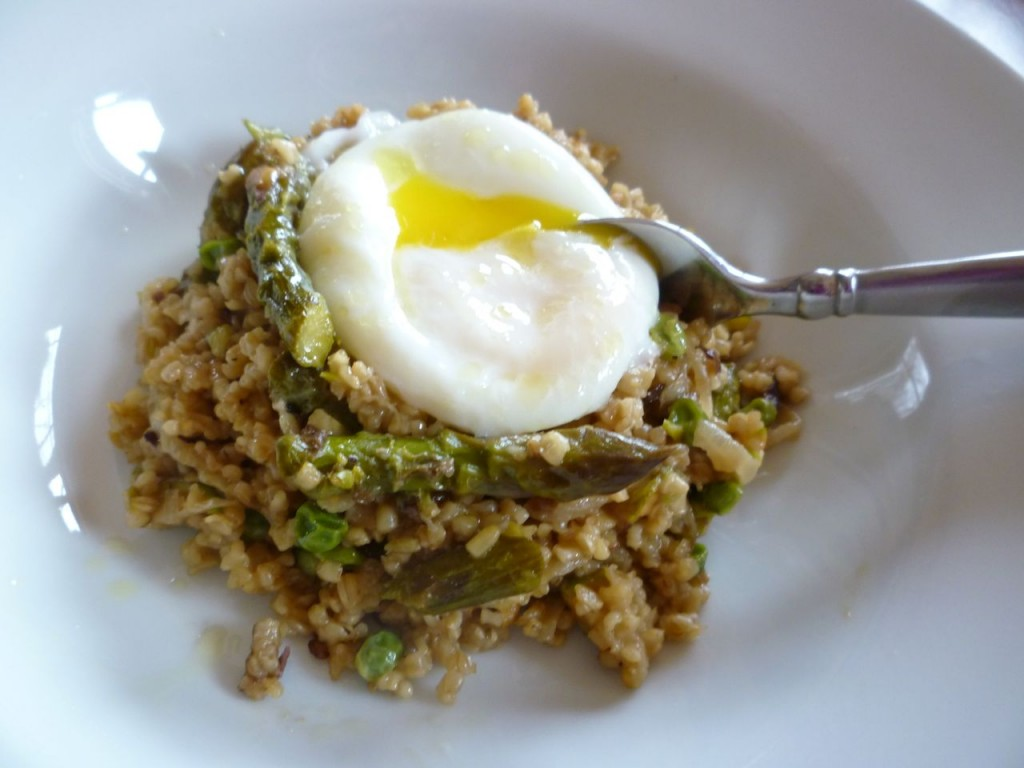 Spring Oat Risotto with Poached Egg - italy cycle holidays