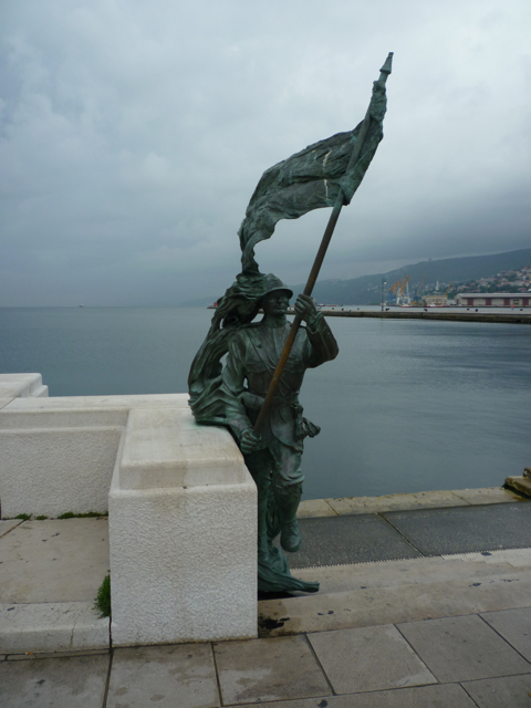 Statue at Port in Trieste cycling tours italiaoutdoors food and wine