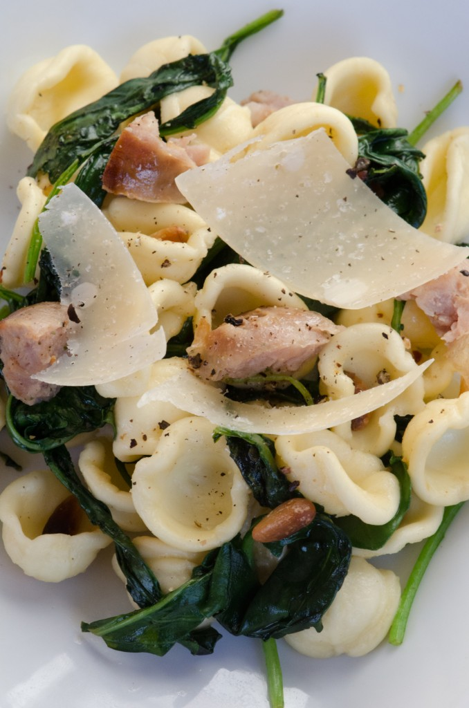 orecchiette kale sausage plate bike tours italy italiaoutdoors food and wine
